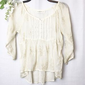 A&F• sheer Ivory with gold detail blouse